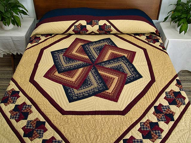 King Navy Burgundy and Tan Star Spin Quilt Photo 1