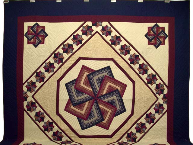 King Navy Burgundy and Tan Star Spin Quilt Photo 2