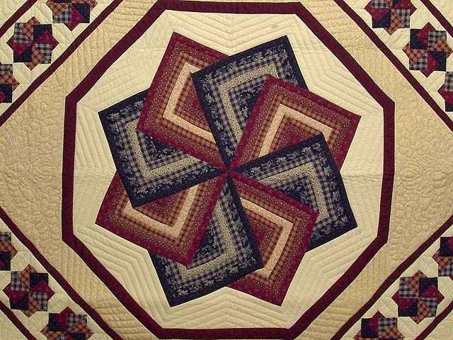 King Navy Burgundy and Tan Star Spin Quilt Photo 3