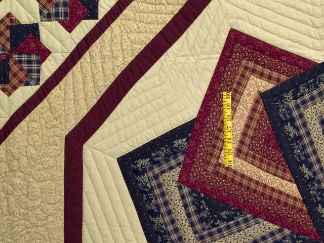 King Navy Burgundy and Tan Star Spin Quilt Photo 4