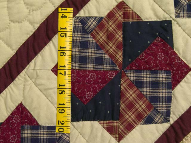 King Navy Burgundy and Tan Star Spin Quilt Photo 6