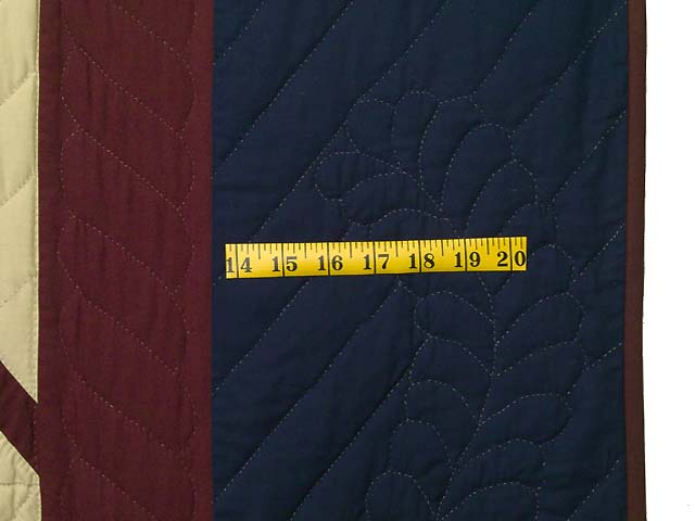 King Navy Burgundy and Tan Star Spin Quilt Photo 7