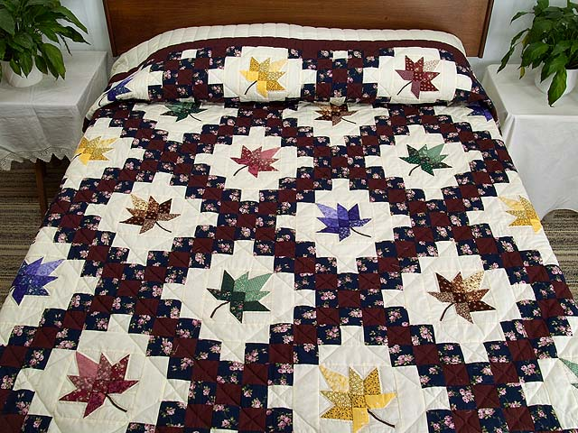 Navy Burgundy and Multicolor Autumn Splendor Irish Chain Quilt Photo 1