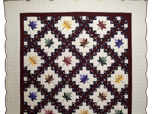 Navy Burgundy and Multicolor Autumn Splendor Irish Chain Quilt Photo 2