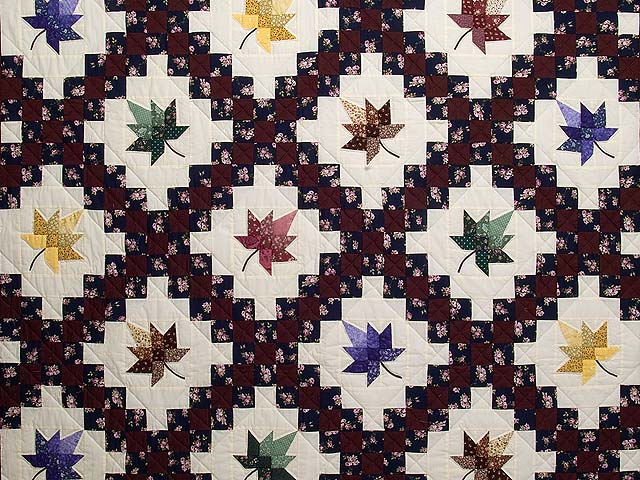 Navy Burgundy and Multicolor Autumn Splendor Irish Chain Quilt Photo 3