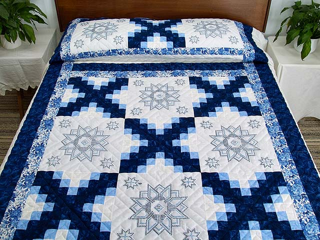 Navy Blue and Ivory Cross Stitch Irish Chain Quilt Photo 1