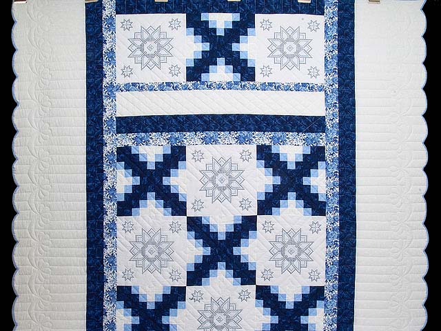 Navy Blue and Ivory Cross Stitch Irish Chain Quilt Photo 2