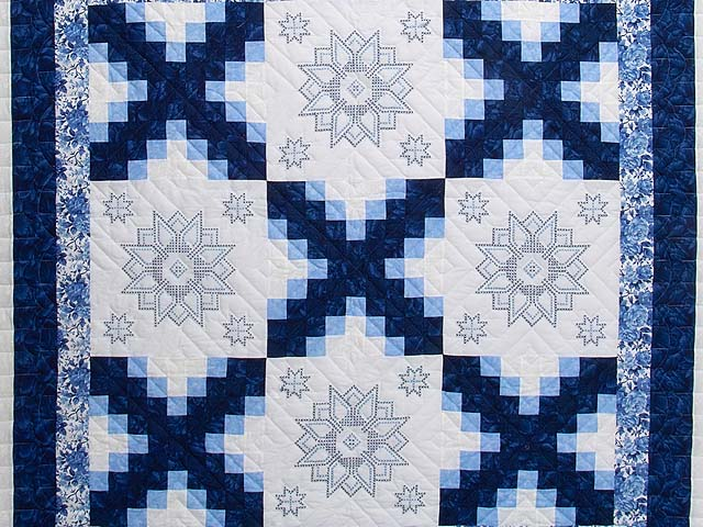 Navy Blue and Ivory Cross Stitch Irish Chain Quilt Photo 3