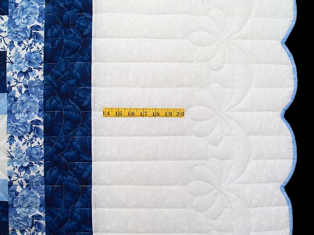 Navy Blue and Ivory Cross Stitch Irish Chain Quilt Photo 7
