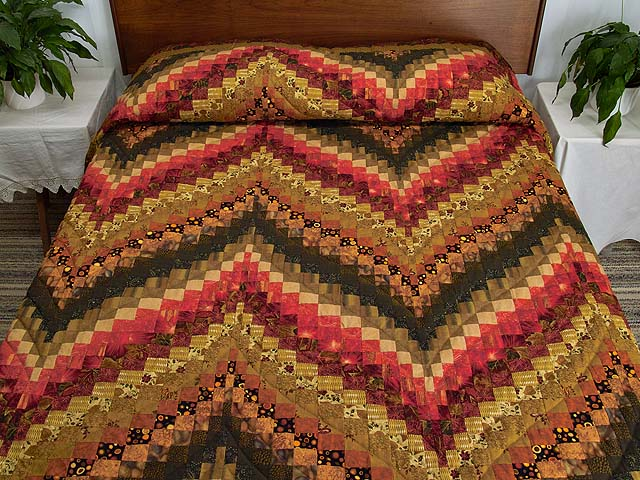 Green Gold Red and Brass Reverse Bargello Quilt Photo 1