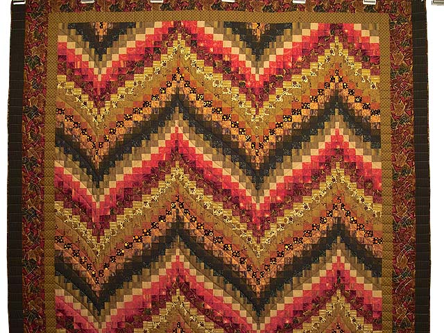 Green Gold Red and Brass Reverse Bargello Quilt Photo 2