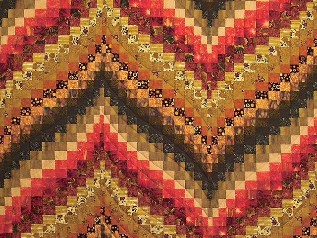 Green Gold Red and Brass Reverse Bargello Quilt Photo 3