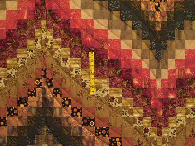 Green Gold Red and Brass Reverse Bargello Quilt Photo 4