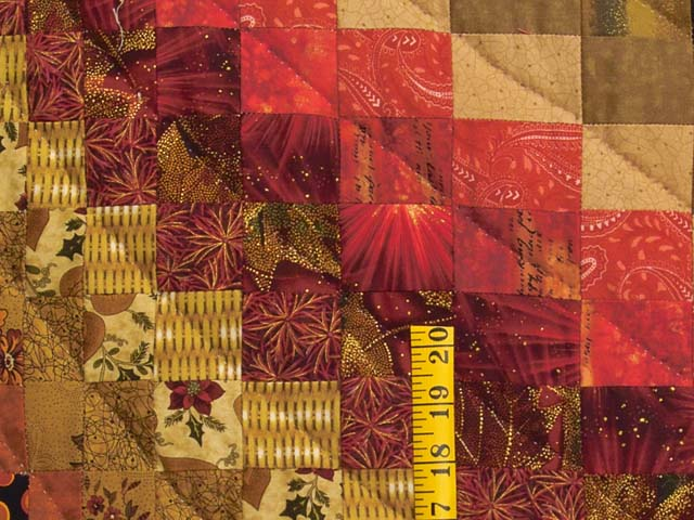 Green Gold Red and Brass Reverse Bargello Quilt Photo 5