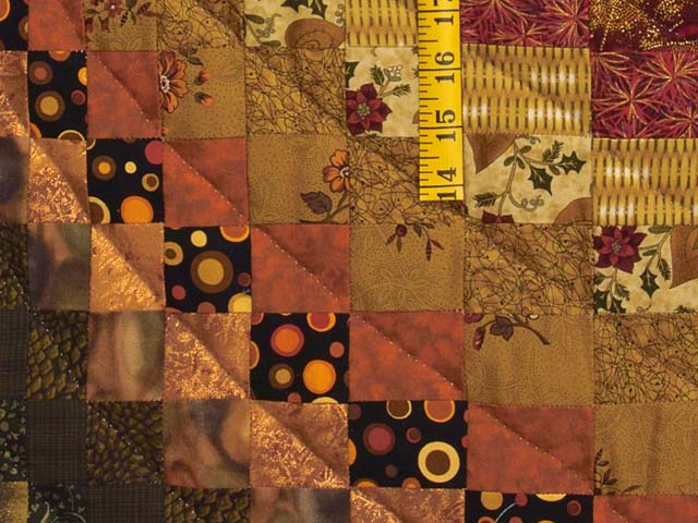 Green Gold Red and Brass Reverse Bargello Quilt Photo 6