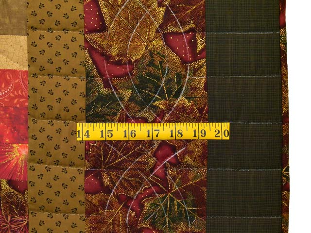 Green Gold Red and Brass Reverse Bargello Quilt Photo 7