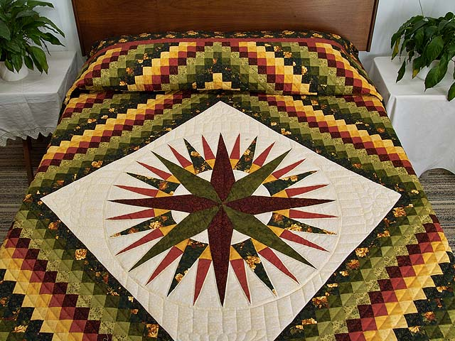 Green Red and Gold Compass Trip Quilt Photo 1