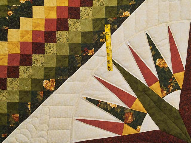 Green Red and Gold Compass Trip Quilt Photo 4