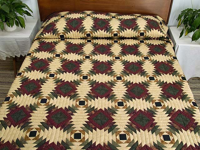 Burgundy Tan And Earth Tones Pineapple Quilt Photo 1