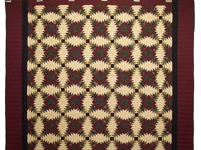 Burgundy Tan And Earth Tones Pineapple Quilt Photo 2