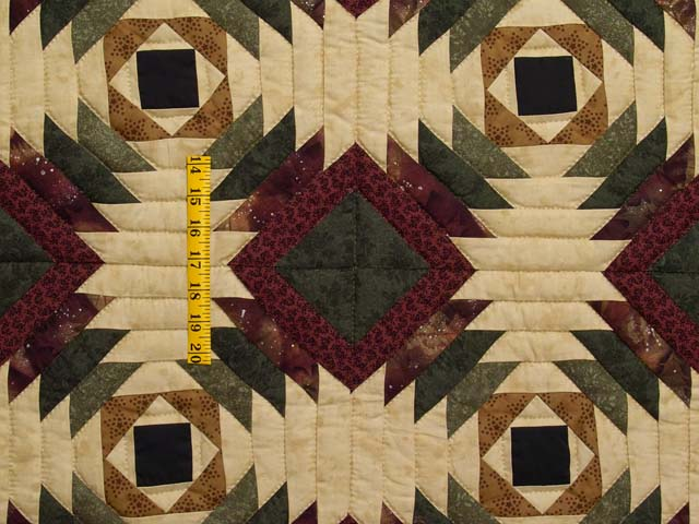 Burgundy Tan And Earth Tones Pineapple Quilt Photo 4