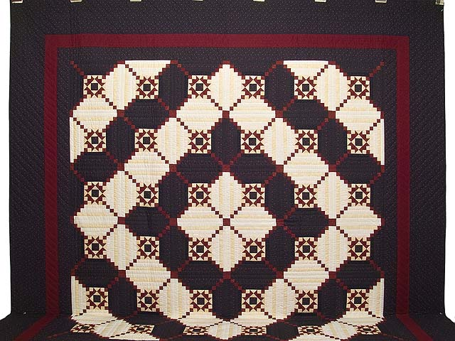 King Navy and Burgundy Stars in the Cabin Quilt Photo 2