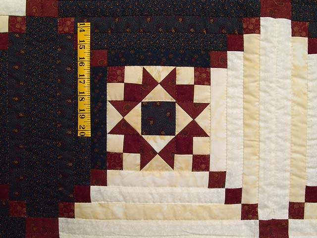 King Navy and Burgundy Stars in the Cabin Quilt Photo 5