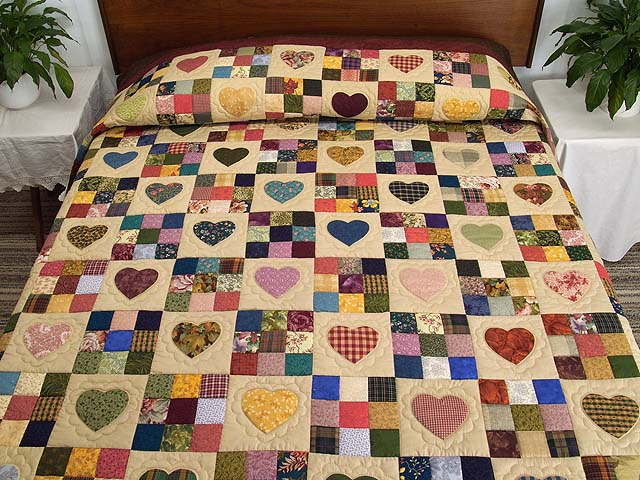 Olive Green Burgundy and Multi Hearts and Nine Patch Quilt Photo 1