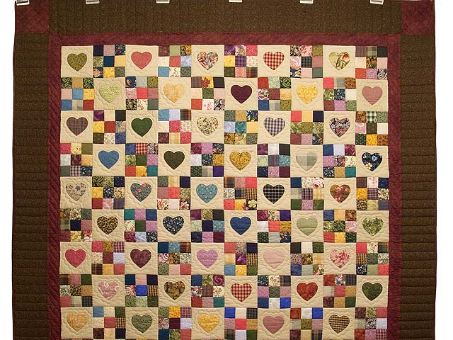 Olive Green Burgundy and Multi Hearts and Nine Patch Quilt Photo 2