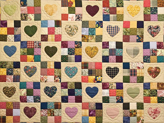 Green, Burgundy and Multi Hearts and Nine Patch Quilt Photo 3