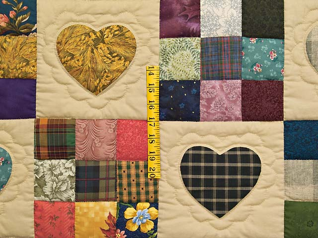 Olive Green Burgundy and Multi Hearts and Nine Patch Quilt Photo 4