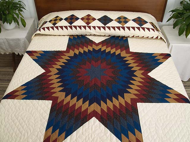 Blue Burgundy and Gold Star of Bethlehem Quilt Photo 1