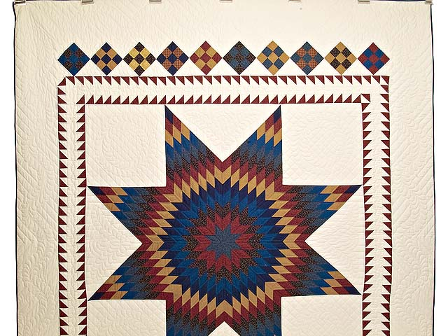 Blue Burgundy and Gold Star of Bethlehem Quilt Photo 2