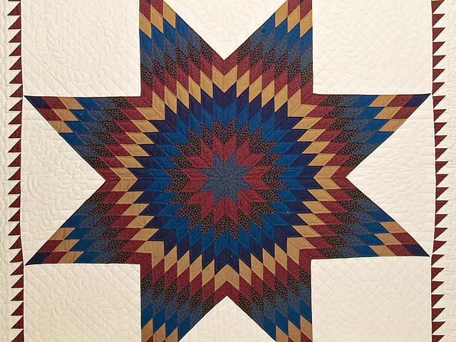 Blue Burgundy and Gold Star of Bethlehem Quilt Photo 3