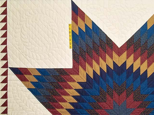 Blue Burgundy and Gold Star of Bethlehem Quilt Photo 4