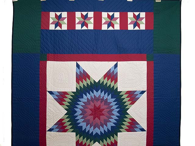 Amish Bright Lone Star Quilt Photo 2