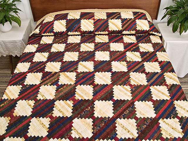 Tans and Multicolor Log Cabin on the Point Quilt Photo 1