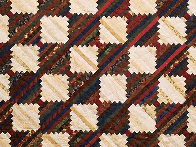 Tans and Multicolor Log Cabin on the Point Quilt Photo 3