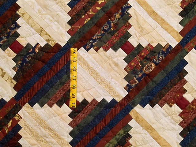 Tans and Multicolor Log Cabin on the Point Quilt Photo 4