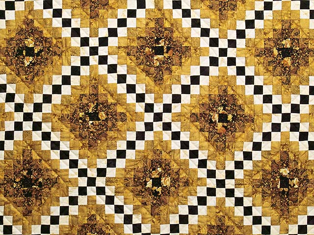 Black and Gold Irish Chain Quilt Photo 3