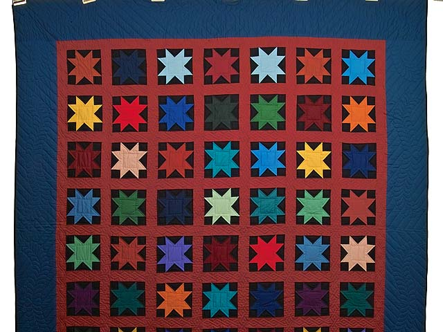 Blue Burgundy and Multi Amish Variable Stars Quilt Photo 2