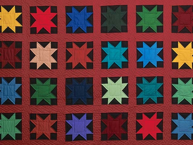 Blue Burgundy and Multi Amish Variable Stars Quilt Photo 3