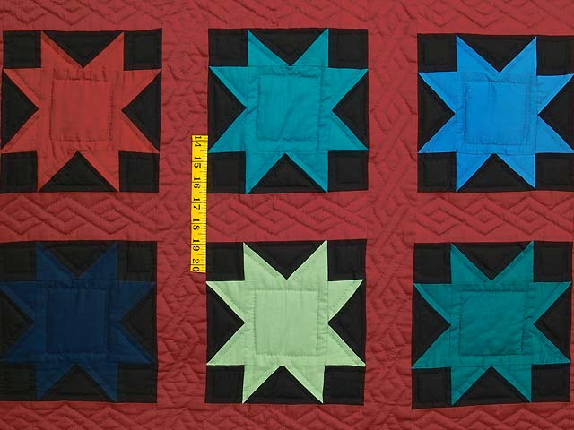 Blue Burgundy and Multi Amish Variable Stars Quilt Photo 4