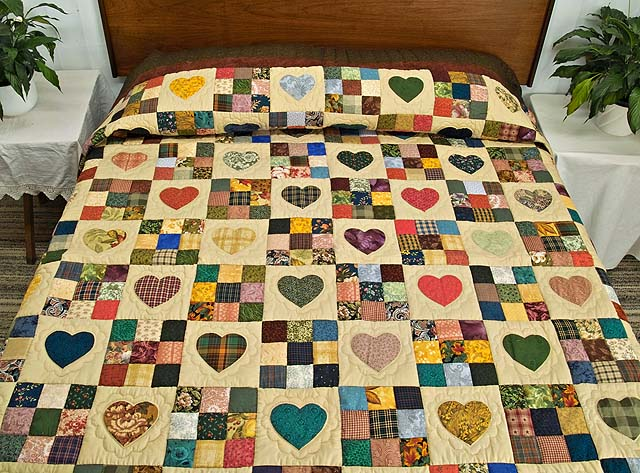 Moss Burgundy and Multi Hearts and Nine Patch Quilt Photo 1