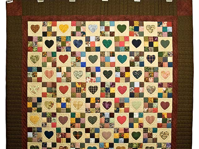 Moss Burgundy and Multi Hearts and Nine Patch Quilt Photo 2