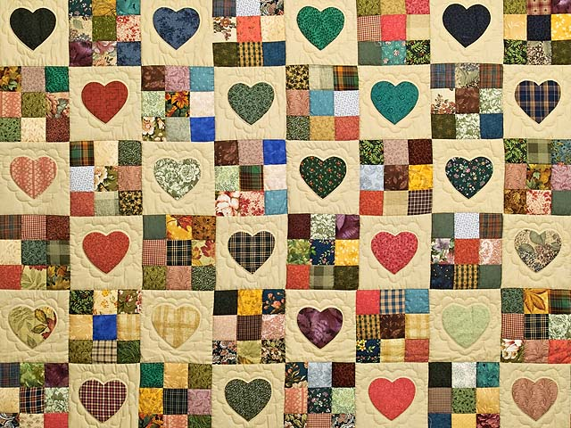 Moss Burgundy and Multi Hearts and Nine Patch Quilt Photo 3