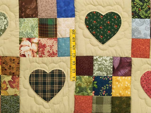 Moss Burgundy and Multi Hearts and Nine Patch Quilt Photo 4