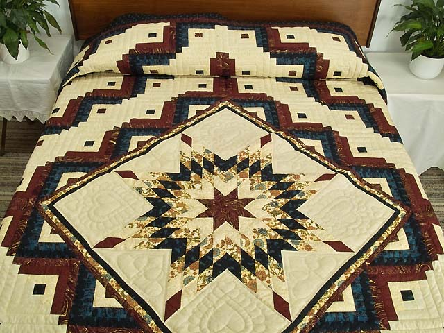 Navy Burgundy and Golden Tan Lone Star Log Cabin Quilt Photo 1