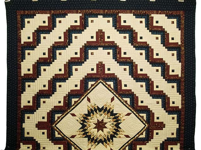 Navy Burgundy and Golden Tan Lone Star Log Cabin Quilt Photo 2