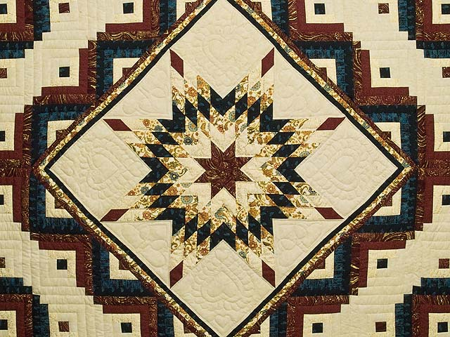 Navy Burgundy and Golden Tan Lone Star Log Cabin Quilt Photo 3
